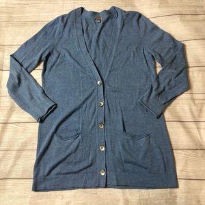 J Jill Womens Medium Light Blue Cardigan Sweater